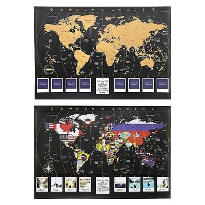 XL Personalized World Scratch Map Scratch-Off Map's Gold Layer to Reveal Country