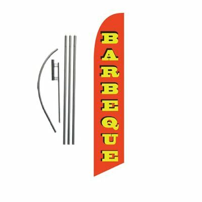 Barbeque 15ft Feather Banner Swooper Flag Kit - INCLUDES 15FT POLE KIT w/ GROUND