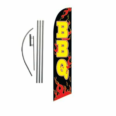 Barbeque BBQ 15ft Feather Banner Swooper Flag Kit - INCLUDES 15FT POLE KIT w/ GR