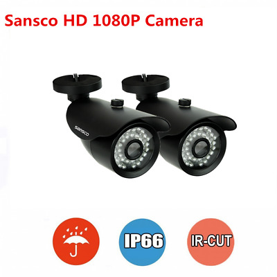 2x Home Outdoor 1080P 2MP Night Vision Bullet Cameras For CCTV Security System