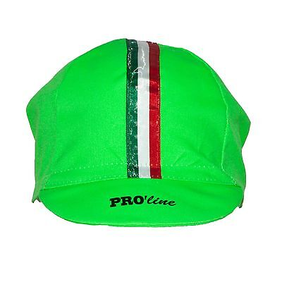 CAPPELLINO SOTTOCASCO CICLISMO PRO line TRICOLORE VERDE FLUO CYCLING HAT CAP 8c1d04ee5300