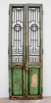 Geniune Set Antique Tall Chinese Wooden Doors Green Timber Steel