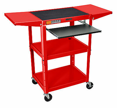 Luxor Steel Adj Cart w/ keyboard & Drop Leaf shelves AVJ42KBDL-RD AV / cart NEW