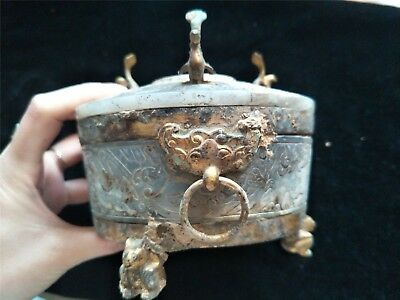 Chinese gilt bronze covered pot two dragon ring bird lid cups inlay jade pots