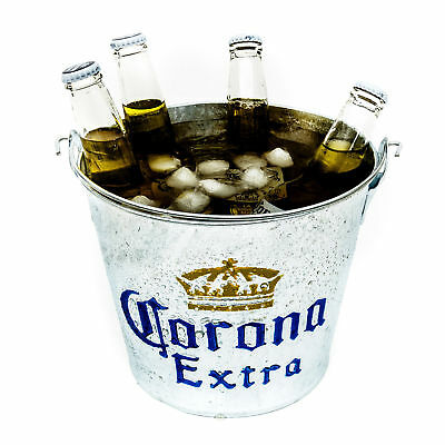 Corona Galvanised Style Metal Ice Bucket Party Drink Holder Cooler Home Bar Pub