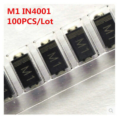 100Pcs/Lot M1 SMA 1N4001 IN4001 4001 1A 50V Rectifier Diode Free Shipping