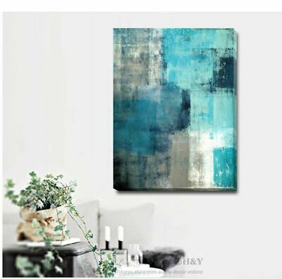 Gray Blue Abstract Stretched Canvas Print Framed Wall Art Home Decor Deco A328