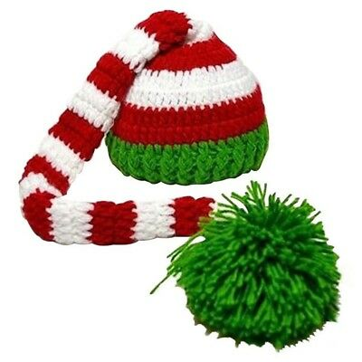 Christmas Crochet Knit Baby Photo Hat Green Red C3R4