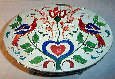 Antique Milk Stool Painted Pennsylvania Dutch Fraktur Design Dairy Farm Folk Art