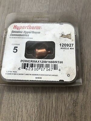 4 X Hypertherm Powermax 1250 1650 Rt80 Nozzle 80Amp 120927 Cutting Welder Incvat