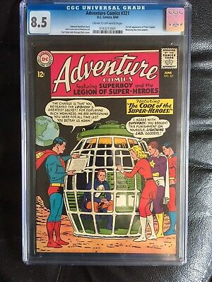 ADVENTURE COMICS #321 CGC VF+ 8.5; CM-OW; first Time Trapper! Legion!