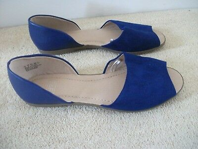 arriving reliable quality to buy F&F FLORENCE & Fred Tesco Royal blue flat sandals shoes NEW peep ...