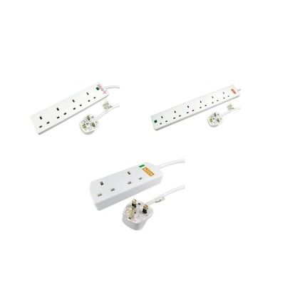 2/4/6 Gang 2/5m Mains Extension Trailing Lead Surge Protected / UK Plug / White