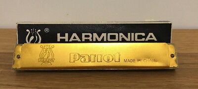 Vintage 24 Hole Parrot Harmonica Mouth Organ In Key Of C