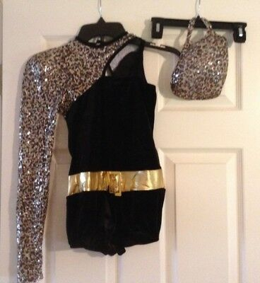 Art Stone Competitor Dance Costume Black Gold Sequin + Matching Hair Piece