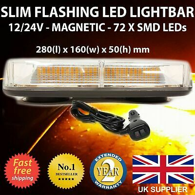 Van Flashing LED Strobe Lights Amber Beacons bar 12v 24v recovery yellow orange