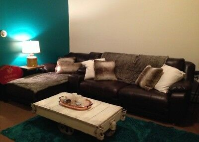 Large Leather Sectional Sofa With 3 Reclining Seats And Storage