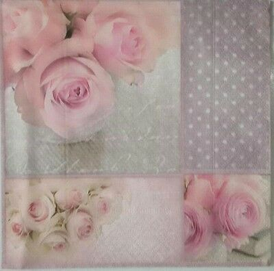 4 Paper Napkins for decoupage.Romantic Roses.Servilletas papel decoupage.Rosas