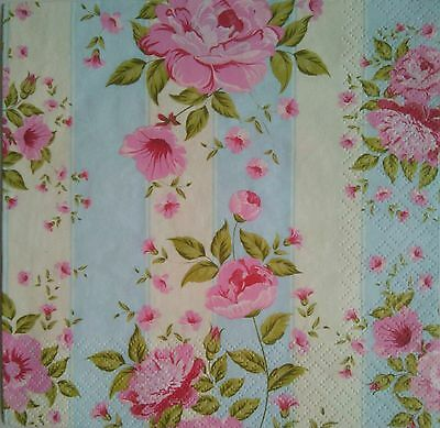 4 x SERVILLETAS DE PAPEL DECOUPAGE, Napkins for decoupage, flowers