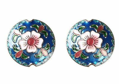 2pcs-18mm cloisonne floral space beads, big enamel blue flower spacer beads