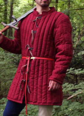 Thick Red color viking Gambeson aketon pourpoint Medieval Padded Armor