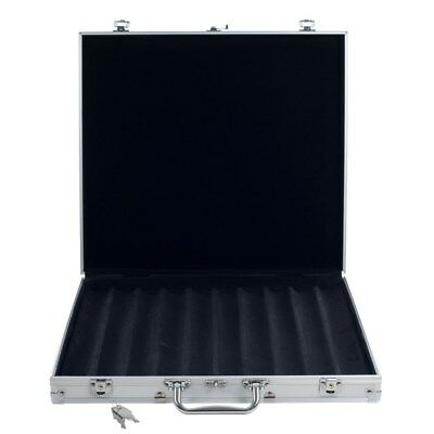 1000 Capacity Aluminum Poker Chip Case, Black Interior, Wood Felt Lined Rows