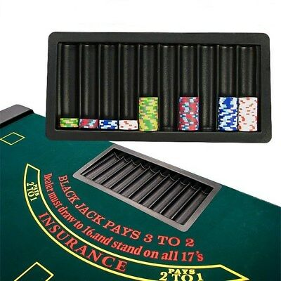 500 Casino Chip Table Tray for Blackjack and Poker Game Tables, Black