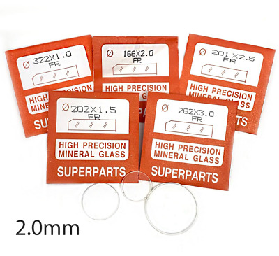 Quality Watch Glass Mineral Crystal Face Flat Round 2mm Thick, Ø 16.1mm to 45mm