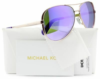 Michael Kors Aviator Rose Gold w/Purple Mirror Sunglasses MK5004 10034V 59MM