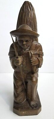 Farmer Carrying Hay Hand Carved Wood Figure Statue Vintage Wooden Man Slave
