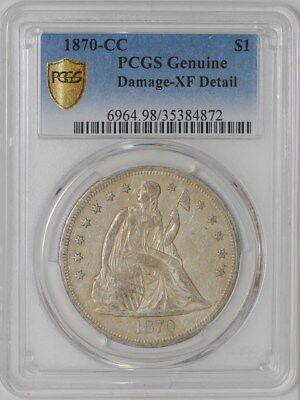 1870-CC Seated Liberty Dollar $ #35384872 XF Detail Secure Plus PCGS