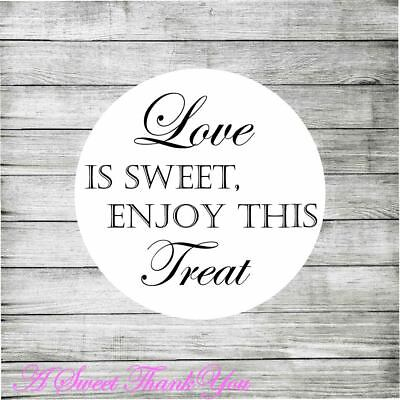 105 x Love is Sweet Sweet Cone Table Wedding Favour stickers 37mm Labels Round