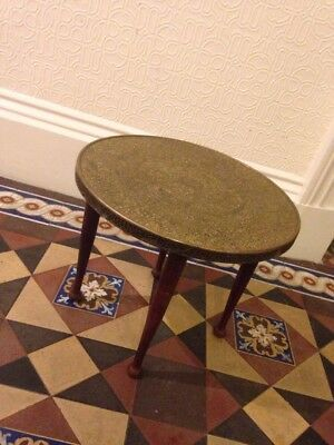 Islamic Brass Table round vintage side or coffee table spindle legs retro