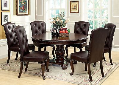 Beautiful Traditional Round Dining Room Table & Leatherette Side Chair 7pc Set