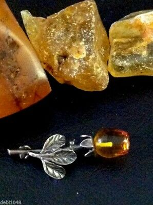 Sterling Silver and Baltic Sea Amber Rose Pin