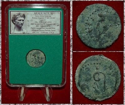 Roman Empire Coin AUGUSTUS Sacrificial Implements on Reverse Colonia Patricia