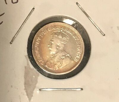 1918 Silver Canadian Five cent coin. 5c. Canada. Gorgeous Toning!!