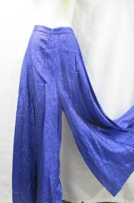 Vintage 70's Lurex Bright Blue Metallic Palazzo Pants Disco Super Wide Leg M L