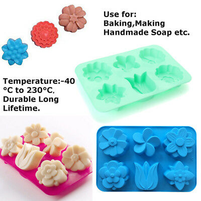 DIY 6-Cavity Silicone Flower Shaped Soap Mold Cake Chocolate Jelly Candle Mould