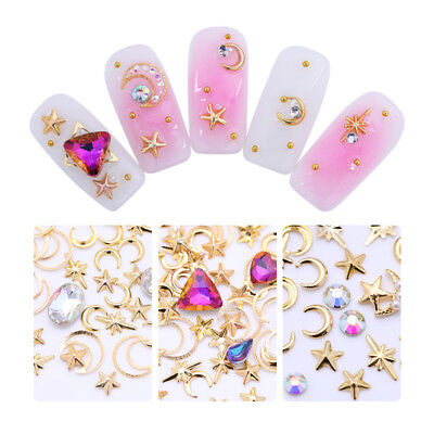 Nail Studs Rhinestone Gold Moon Star Metal Clear Pearl 3D Nail Art Decoration
