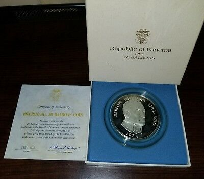 Very Nice 1974 20 Balboa Proof Coin From Panama 4.19 Ozt Of Sterling Silver