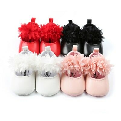 AU Newborn Baby Girls Crib Shoes Toddler Infant Floral Princess Shoes Prewalkers