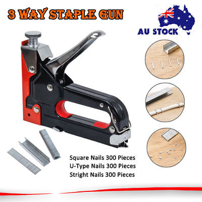 Heavy Duty 3 Way Staple Nail Gun Nailer Stapler Upholstery Wood With 900 Staples