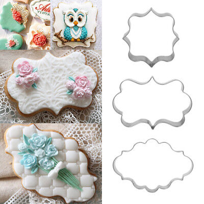3X Stainless Steel Fancy Plaque Frame Fondant Cake Mold Mould Cookie Cutter UK
