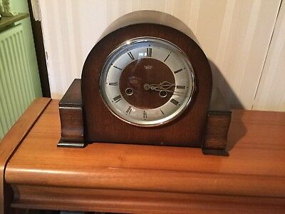 Vintage Smiths Enfield Wood Cased Striking Mantel Clock.
