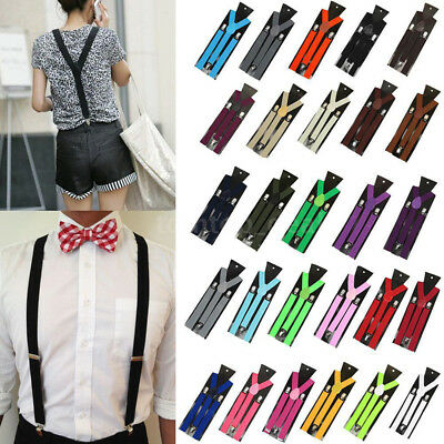 Unisex Fashion Elastic Y-Shape Braces Mens Womens Adjustable Clip-on Suspenders