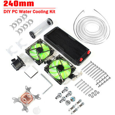 AU 240mm PC Water Cooling Kit Radiator CPU Block Pump Reservoir Heat Sink Cooler