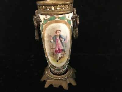 Antique Handpainted Sevres Porcelain & Bronze Miniture Urn Must See No Reserve