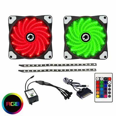 Game Max RGB Kit 2x Fans 2x LED Strips Remote Control and Sata Power Connection