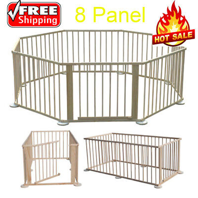 Baby Child Wooden Foldable Playpen Play Pen Room Divider Heavy Duty Baby Fence